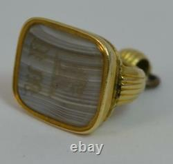 Georgian 15ct Gold & Banded Agate Pocket Watch Fob Pendant with Intaglio t0351