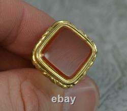 Georgian Gold Cased and Plain Carnelian Pocket Watch Fob Seal Pendant t0384