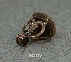 Georgian Rose Gold Cased and Agate Intaglio Pocket Watch Fob Seal Pendant t0717