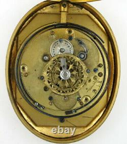 Gilt oval case pocket watch, verge repeater, c1800
