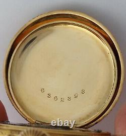 Gorgeous 14k Gold Art Nouveau Fancy Dial Elgin Ladies Antique Pocket Watch