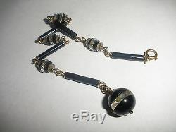 Great Antique Art Deco 14k Gold Black Jet Ball Crystal Fob For Pocket Watch