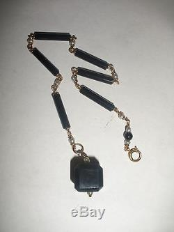 Great Antique Art Deco 14k Gold Black Jet Cube With Pearls Fob For Pocket Watch