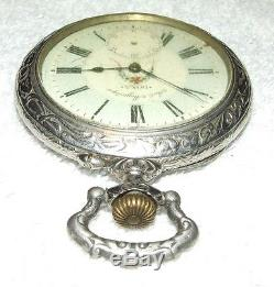 HUGE Antique DOXA Swiss Pocket Watch with Ornate Figural Deer Hunter Case, Rare