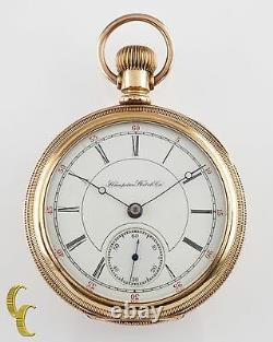 Hampden Dueber 14K Yellow Gold Antique Open Face Pocket Watch 17 Jewel Size 18