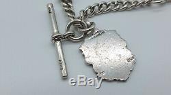Heavy Antique Hallmarked Solid Silver Albert Pocket Watch Chain & Fob
