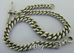 Heavy Antique Solid Sterling Silver Albert Pocket Watch Chain & T-Bar Bir 1905