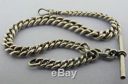 Heavy Antique Victorian Solid Silver Albert Pocket Watch Chain & T-Bar Bir 1900