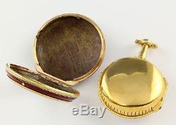 Heavy Honoré Lieutau Pair case pocket watch verge alarm 1780 Enamel Antique