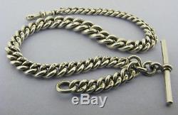 Heavy Victorian Solid Silver Albert Pocket Watch Chain & T-Bar Hallmarked 1901