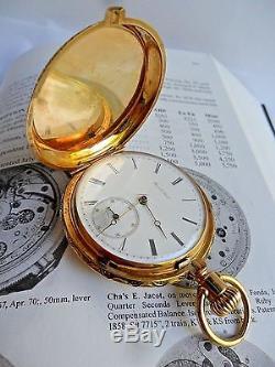 Important Antique 18k Gold 1870's Charles E Jacot Hunter's Enamel Pocket Watch