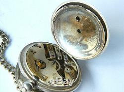 K. SERKISOFF & Co. BILLODES OTTOMAN POCKET WATCH Silver with Chain and Key ANTIQUE