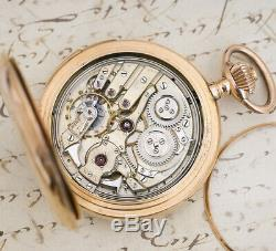 LECOULTRE Signed REPEATER 14k Gold Antique REPEATING Pocket Watch -OFFICERS GIFT
