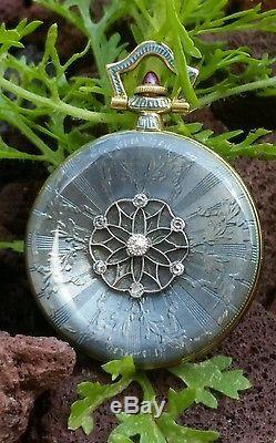 Ladies Vintage Antique Longines Enamel Diamond & 18K Gold Pendant Watch