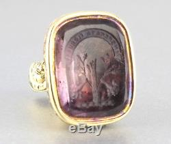 Large Antique Victorian Fob Seal Carved Armorial Intaglio Of Genuine Amethyst