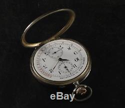 Longines Antique & Big Medical Chronograph Silver Pocket Watch Complete S. As Is