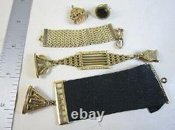 Lot 5 Antique Victorian Pocket Watch Fob Charms & Chains