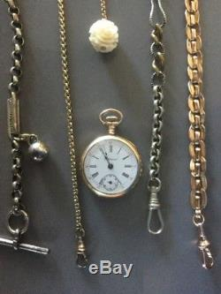 Lot Of 8 Antique Victorian Pocket Watch Chains Fobs For Parts Or