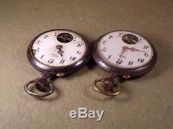 Lot of 2 Vintage Antique Steel Case Wespa Pocket Watch Hebdomas Germany Swiss