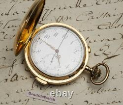 MINUTE REPEATER CHRONOGRAPH Solid 18k Gold Antique Repeating Pocket Watch