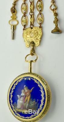 MUSEUM One of a kind antique Breguet Verge Fusee 22k gold&enamel watch&fob c1800