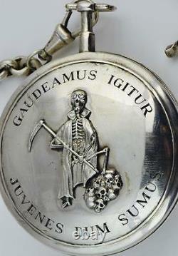MUSEUM Silver&Diamonds Verge Fusee CALENDAR Skull Memento Mori pocket watch&fob