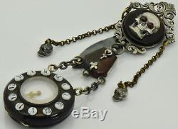 MUSEUM antique French Skull Memento Mori Faux Tortoise shell Chatelaine watch