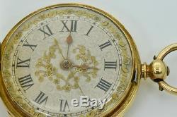 MUSEUM antique Tixier calibre Chinese Duplex SOLID 18K GOLD&ENAMEL pocket watch