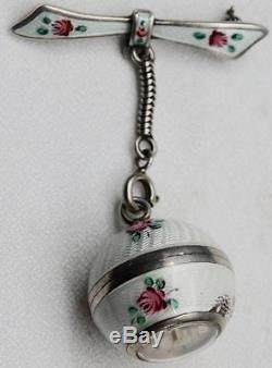 MUSEUM antique silver&enamel ladies Swiss Ciro Brooch style watch&box c1920's