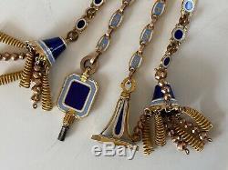 Magnificent 15ct Gold Enamel Albertina Bracelt Tassel For Pocket Watch Chain