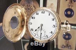 Mans Rolex 1928 Antique Vintage Solid Gold Half Hunter Pocket Watch Serviced