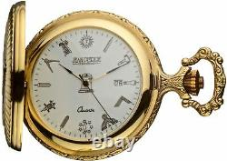 Masonic Pocket Watch Full Hunter with Compasses and Square Antique Gold Plated