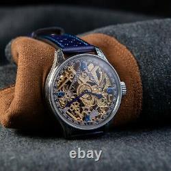 Masonic vintage swiss pocket watch in new custom case, skeletonized mechanism
