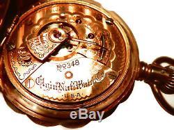 Mega Rare Antique 18s Railroad Elgin 348 First Run Hunter Gold Pocket Watch Mint
