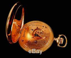 Mega Rare Antique Railroad 18s 24J Illinois Bunn Special Gold Pocket Watch Mint