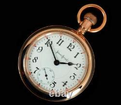 Mega Rare Antique Railroad 18s 24J Illinois Bunn Special Gold Pocket Watch, Mint