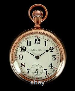 Mega Rare Antique Railroad 18s Hamilton 936 Gold Pocket Watch Mint Serviced