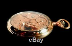 Mega Rare Antique Railroad 18s Waltham Riverside Gold Pocket Watch Mint Serviced