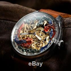 Men Skeleton watch, old Antique Pocket Watch, swiss movement, personalised watches