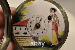 Montre De Gousset A Coq Ancien Antique Enameled Pocket Watch