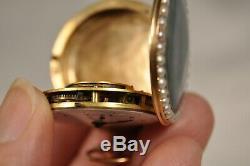 Montre De Gousset Ancien Or 18k Antique Enameled Solid Gold Pocket Watch Digeon