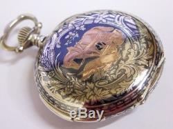 Montre de poche LeCoultre à sonnerie argent niellé Antique repeater pocket watch