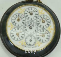 Most unique antique gunmetal&enamel WORLD TIME traveler's 6 time zones watch