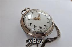 Museum Silver & Shell Pair Cased Verge Fusee Chain Driven Pocket Watch Working