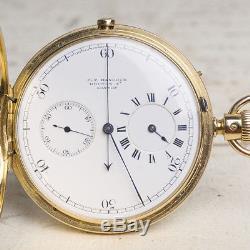 NICOLE NIELSEN REGULATOR DIAL CHRONOGRAPH Solid 18k GOLD Antique Pocket Watch