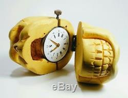One-of-a-Kind Antique MEMENTO MORI SKULL Hand Carved Pocket Watch Desk Case