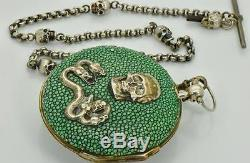One of a kind antique Skull&Snakes Doctors Memento Mori verge fusee silver watch