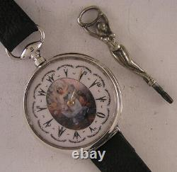 Oriental Erotic 150 Years Old Cylindre 1870 French SILVER Wrist Watch Serviced