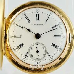 Original 1900' Longines 18k Solid Gold & Diamonds Pendant Pocket Watch Antique