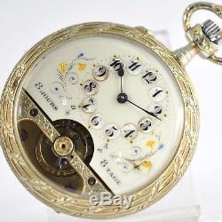 Original Antique 8 Days Rare Gorgeous Guilloche Enamel Manual Wind Pocket Watch